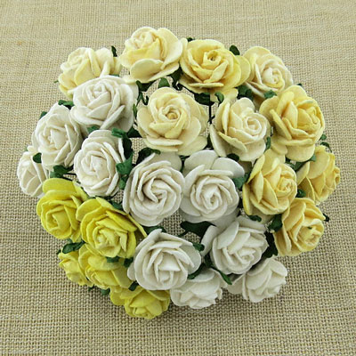 Wild Orchid Craft 10mm Open Roses Mixed White/Cream