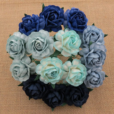 Wild Orchid Crafts 40mm Tea Roses Mixed Blue