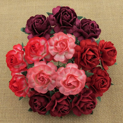 Wild Orchid Crafts 40mm Tea Roses Mixed Red