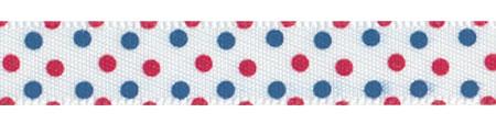 Vintage Patriotic Satin Swiss Dots Ribbon