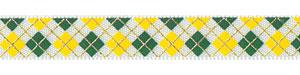 """3/8"""" Yellow and Green Argyle Print on White Satin"""
