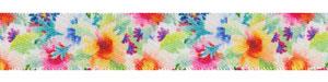 "5/8"" Bright Floral Print on White Satin Ribbon"