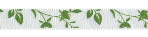 "3/8"" Delicate Leaf and Vine Print on White Satin"