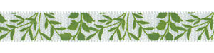 "3/8"" Fabulous Foliage Print on White Satin"