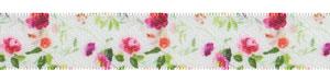 "5/8"" Feminine Floral Print on White Satin Ribbon"