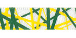 "3/8"" Yellow and Green Random Line Print on White Satin"