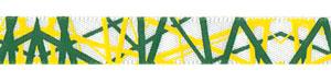 "3/8"" Yellow and Green Random Line Print on White Satin"