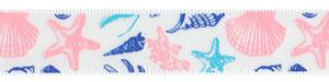 "5/8"" Seashell Print on White Satin Ribbon"