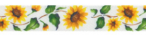 "5/8"" Sunflower Print on White Satin Ribbon"