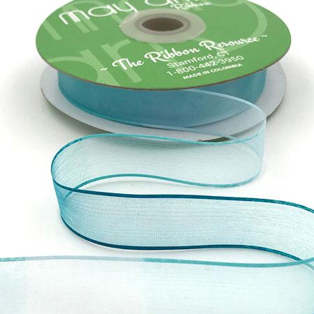 "3/4"" Variegated Sheer Ribbon Ice/Teal"