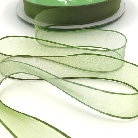 """3/4"""" Variegated Sheer Ribbon Sage/Olive"""