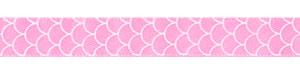 "3/8"" Shell Print on Geranium Satin Ribbon"