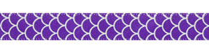 "3/8"" Shell Print on Regal Purple Satin Ribbon"