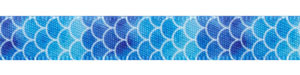 "3/8"" Blue Variegated Shell Print on Satin Ribbon"