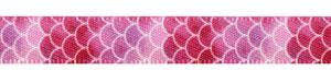 """3/8"""" Coral Variegated Shell Print on Satin Ribbon"""