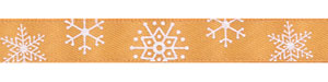 Snowflakes on Old Gold Satin Ribbon