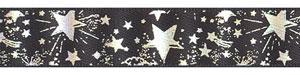 "5/8"" Silver Metallic Star on Black Satin Ribbon"