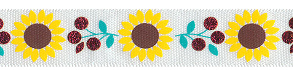"""5/8"""" Sunflower and Berry Print on White Satin Ribbon"""