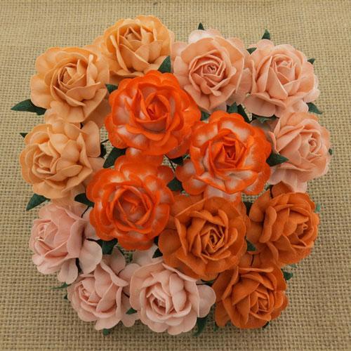 Wild Orchid Crafts 40mm Tea Roses Mixed Peach/Orange