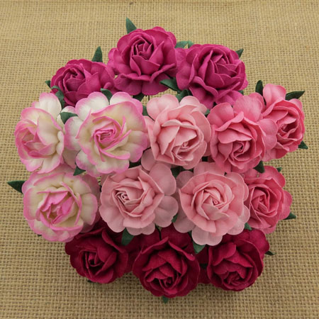 Wild Orchid Crafts 40mm Tea Roses Mixed Pink RESTOCKED!