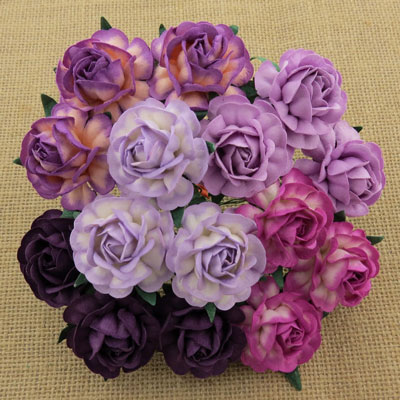 Wild Orchid Crafts 40mm Tea Roses Mixed Purple/Lilac