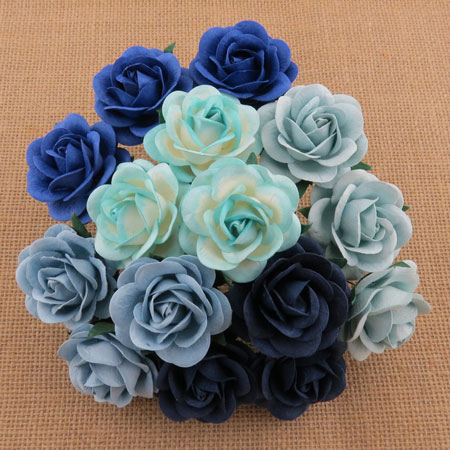 Wild Orchid Crafts 35mmTrellis Roses Mixed Blue Tone