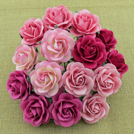 Wild Orchid Crafts 35mmTrellis Roses Mixed Pink Tones