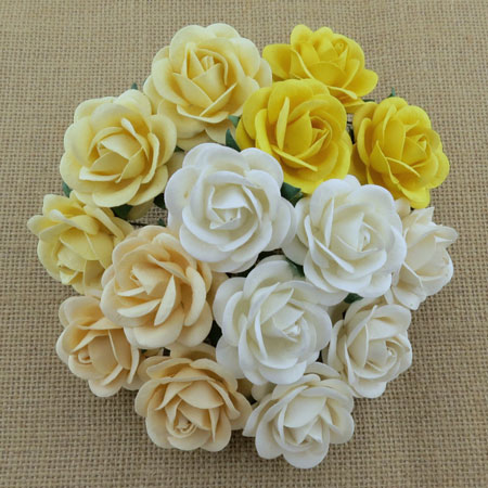 Wild Orchid Craft 40mm Trellis Roses Mixed White/Cream