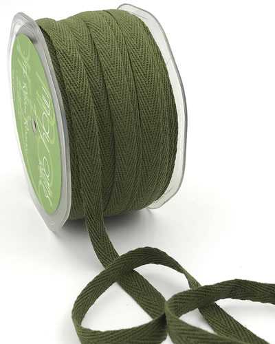 "3/8"" Cotton Twill  Ribbon Olive"