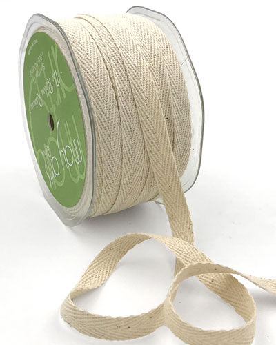 "3/8"" Cotton Twill  Ribbon Ivory"