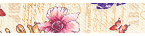 "5/8"" Vintage Floral Print Satin Ribbon"
