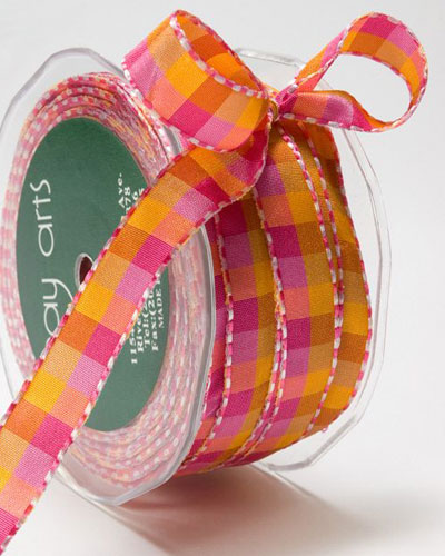 1/2 Inch Checkered Ribbon with Stitched Edge Fuchsia/Orange/Lavender