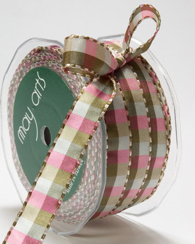 1/2 Inch Checkered Ribbon with Stitched Edge Green/Ivory/Pink