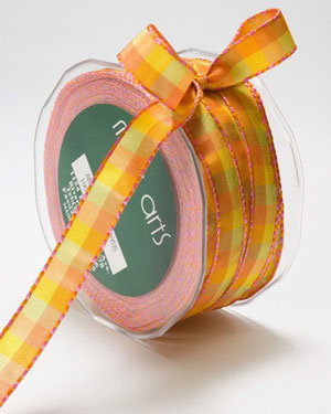 1/2 Inch Checkered Ribbon with Stitched Edge Orange/Yellow/Pink NEW COLOR!