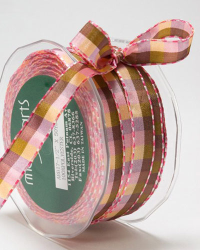1/2 Inch Checkered Ribbon with Stitched Edge Pink/Purple/Green