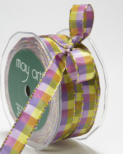 1/2 Inch Checkered Ribbon with Stitched Edge Purple/Lavender/Parrot